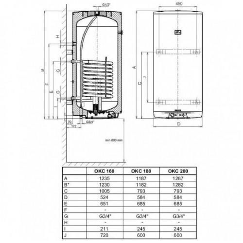 Dražice vertikalus kombinuotas vandens šildytuvas (boileris) OKC160