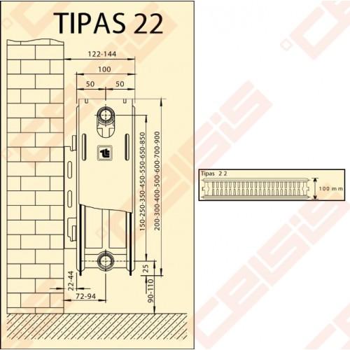 Radiatoriai plieniniai Termolux 22 500x400 šoninio pajungimo