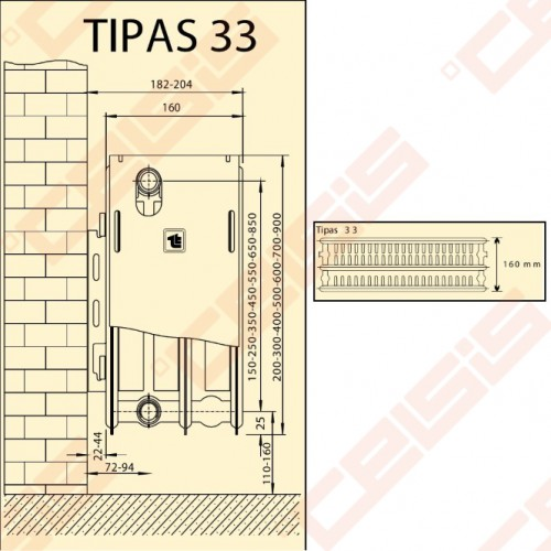 Radiatoriai plieniniai Termolux 33 600x1600 šoninio pajungimo